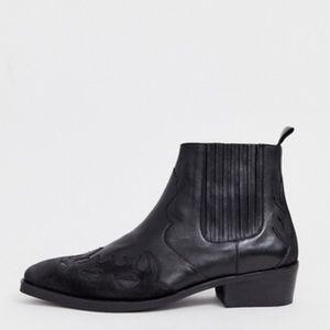 ASOS Cuban Heel Western Chelsea Boots in Black 8